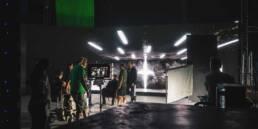 Actors on a virtual production set